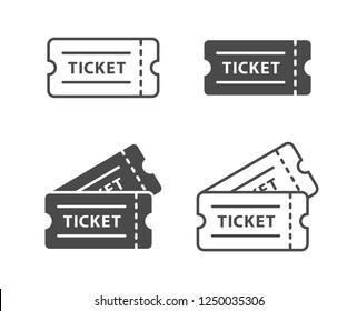 Ticket icon on white background. Vector illustration