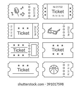 ticket icon in the outline style vector illustration ticket stub isolated on a background