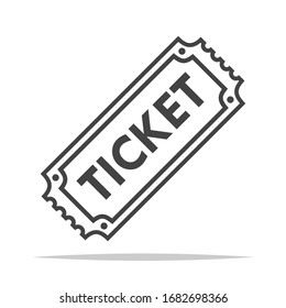 Ticket icon outline transparent vector isolated