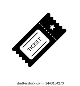 Ticket Icon. Pass, Permission or Admission Symbol, Vector Illustration & Logo Template. Presented in Glyph Style for Design & Websites, Presentation or Mobile Apps.