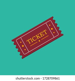ticket icon , red movie ticket concept , vector , illustrator.