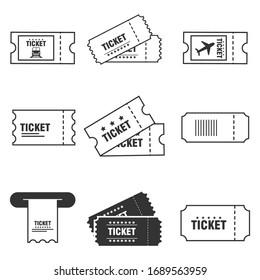 Ticket icon set isolated on white background. Vector illustration.