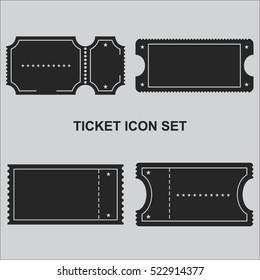 ticket icon set vector
