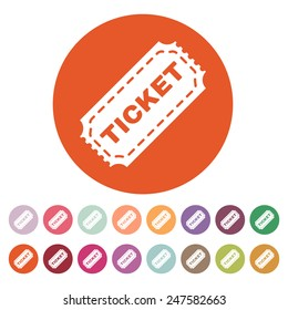 The ticket icon. Ticket symbol. Flat Vector illustration. Button Set