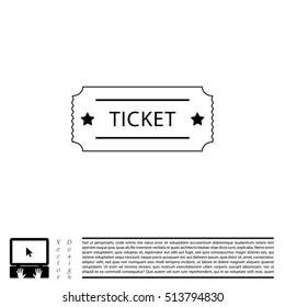 Ticket icon. Vector illustration.