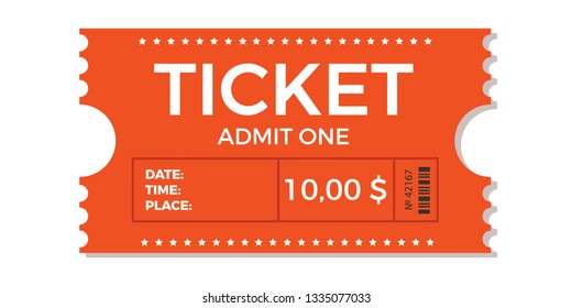 Ticket icon vector illustration in the flat style. Ticket stub isolated on a background. Retro cinema or movie tickets.
