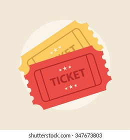 Ticket icon vector illustration in the flat style. Retro ticket stub isolated on a background.
