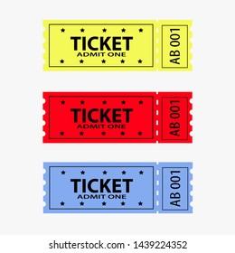 Ticket icon vector set illustration in the flat style. Retro cinema or movie tickets.Ticket stub isolated on a background.
