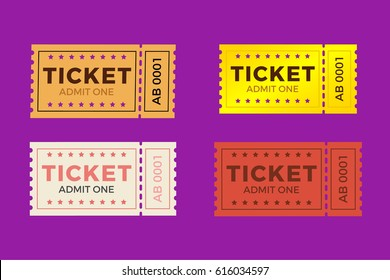 Ticket icon vector set illustration in the flat style. Ticket stub isolated on a background. Retro cinema or movie tickets.