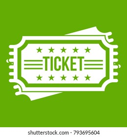 Ticket icon white isolated on green background. Vector illustration