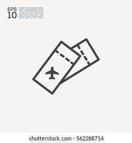 Ticket isolated minimal single flat linear icon for application and info-graphic. World line vector icon for websites and mobile minimalistic flat design.