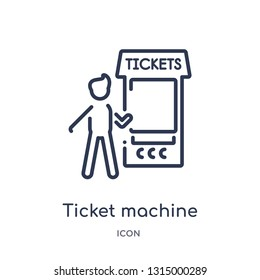 ticket machine icon from people outline collection. Thin line ticket machine icon isolated on white background.