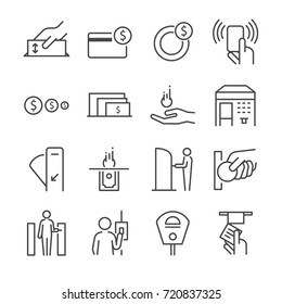 Ticket machine line icon set 2. Included the icons as ticket, coin, token, fare gate, machine, parking meter and more.