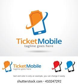 Ticket Mobile Logo Template Design Vector Design