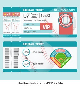 Ticket Modern Design. Baseball ball, bat, field, stadium scheme with zone. Vector illustration