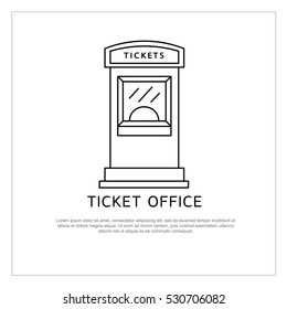 Ticket office vector icon isolated on background. Ticket office logo and vector illustration for cinema, theater, concert, ballet and opera.