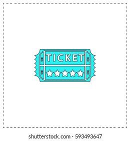 Ticket Outline vector icon with black editable stroke. Contour line blue pictogram on white background. Flat illustration symbol
