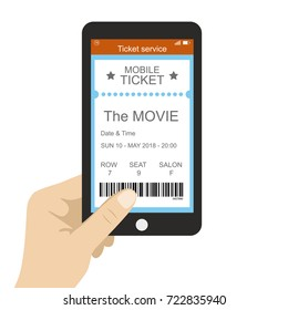 Ticket service,hand holding smart phone with movie ticket application,vector illustration