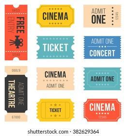 Ticket set for cinema, concert, vintage style, flat design