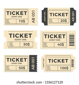 Ticket set icon, vector illustration in the flat style. Ticket stub isolated on a background. Retro cinema or movie tickets.