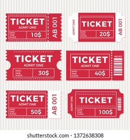 Ticket set icon, vector illustration in the flat style. Ticket stub isolated on a background. Retro cinema or movie tickets