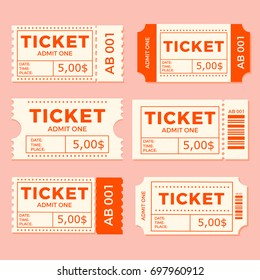 Ticket set icon vector illustration in the flat style. Ticket stub isolated on a background. Retro cinema or movie tickets.