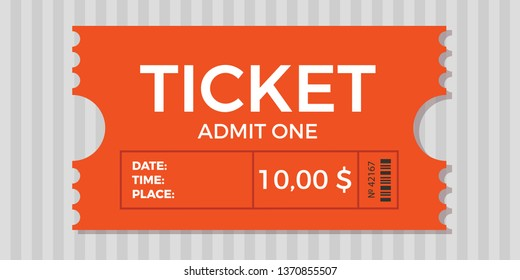 Ticket stub isolated on a background. Ticket icon vector illustration in the flat style.  Retro cinema or movie tickets