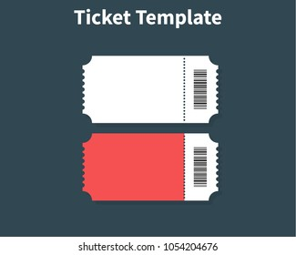 Ticket template. Ticket Element guideline for design. Clean realistic pass mockup. Flat design, vector illustration on background