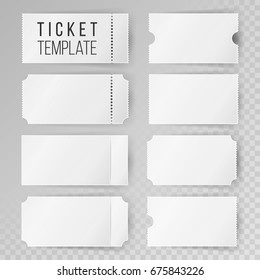 Ticket Template Set Vector. Blank Theater, Cinema, Train, Football Tickets & Coupons. Isolated On Transparent Background