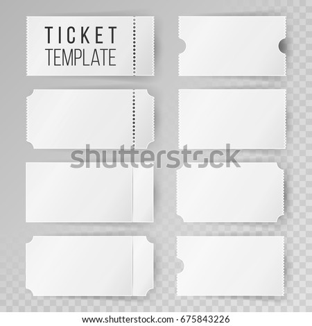 Ticket Template Set Vector Blank Theater Stock Vector (Royalty Free ...