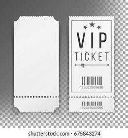 Ticket Template Set Vector. Invitation Circus Or Movie Ticket Template Coupon Blank. Isolated Illustration