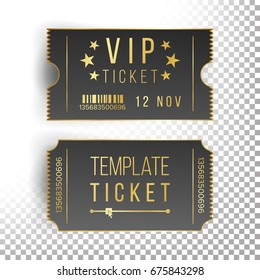 Ticket Template Set Vector. Modern Mock Up Wedding, Cinema, Birthday Or  Circus Tickets Template. Transparent Background