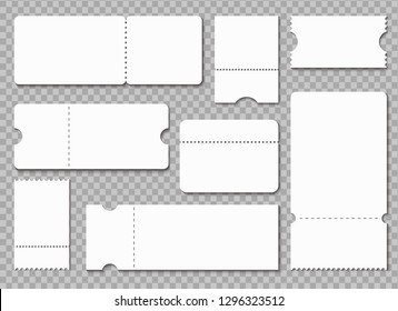 Ticket template. White blank coupon. Lottery raffle admit tickets, concert theater receipt isolated vector mockup