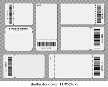 Ticket templates. Blank admit one festival concert theater raffle tickets and coupons with barcode isolated vector set. Concert ticket, coupon with bar code illustration