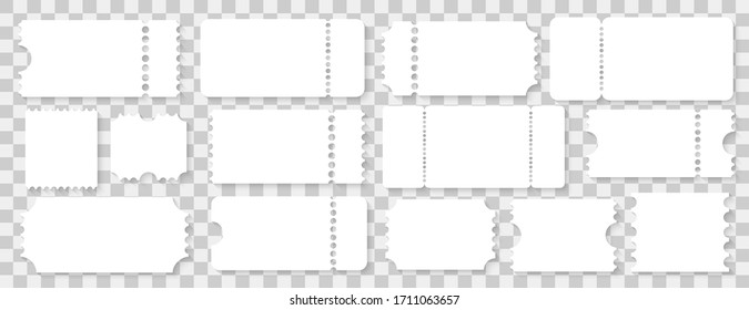 Ticket templates mockup, concert and movie ticket. Vector illustration on background
