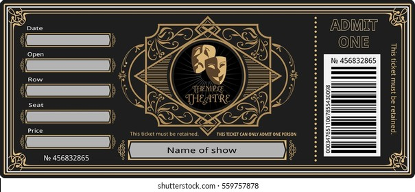 ticket theater vintage show opera concert ballet coupon, invitation,