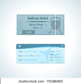 Ticket for a train, and a ticket for an airplane flight. Railway ticket. Colorful tickets, travel, rest, vacation, tourist trip. Vector illustration vintage admission tickets templates.
