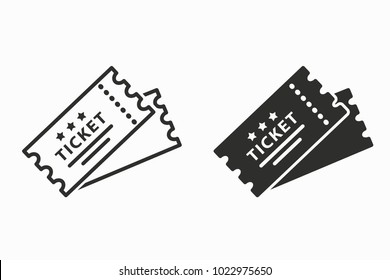 Ticket vector icon. Black illustration isolated for graphic and web design.