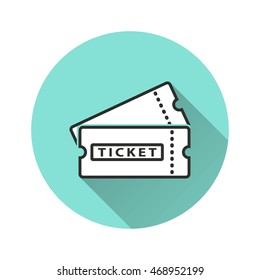 Ticket vector icon with long shadow. Illustration isolated for graphic and web design.