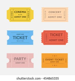 Ticket vector icons isolated from the background in flat style. Ticket stubs to events such as movie, concert and party.