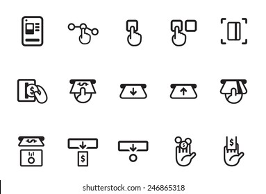 Ticket vending machine vector illustration icon set. Included the icons as train station, smart card, cash, coin, insert, change and more.