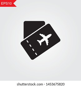 tickets  black isolated icon silhouette on grey background. Vector illustration eps10.