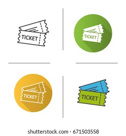 Tickets icon. Flat design, linear and color styles. Cinema, flight or sport event tickets. Isolated vector illustrations
