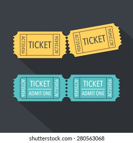 Tickets icon. Flat design. Vector illustration