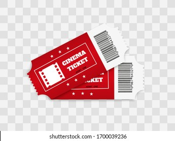Tickets isolated on white background. Realistic front view. Color movie ticket. Vector illustration.