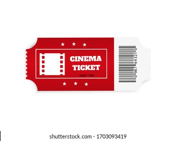 Tickets isolated on white background. Realistic front view. White movie ticket. Vector illustration.