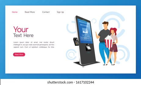 Tickets kiosk landing page vector template. Cinema self service machine website interface idea with flat illustrations. Entertainment paying equipment homepage layout. Modern technology web banner