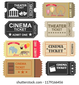 Tickets, a large set of tickets to the cinema, a ticket to the circus and the theater. Flat design, vector illustration, vector.