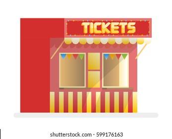 Tickets sale red kiosk. Cartoon vector illustration.