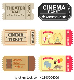 Tickets, a set of tickets to the cinema, to the circus, to the theater. Flat design, vector illustration, vector.